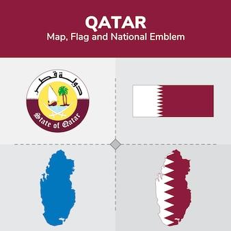 Mappa del qatar, bandiera e emblema nazionale