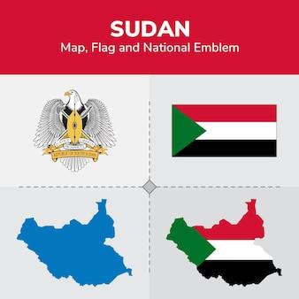 Mappa del sudan, bandiera e emblema nazionale