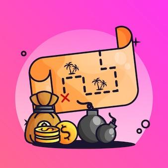 Mappa del tesoro con bomba gradiente illustrazione