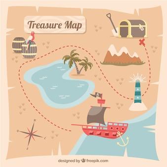 Mappa del tesoro del pirata con percorso