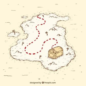 Mappa del tesoro del pirata dell'annata