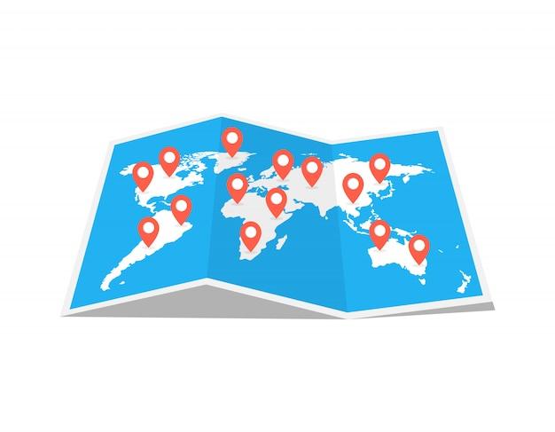 Mappa del viaggio mondiale