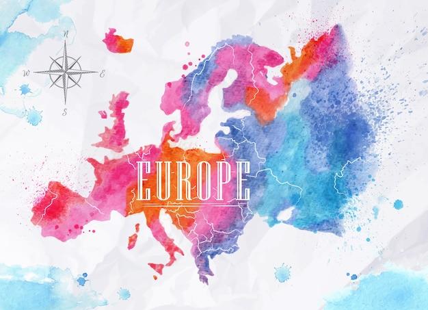 Mappa dell'acquerello dell'europa