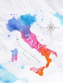 Mappa dell'acquerello dell'italia