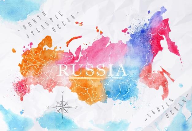 Mappa dell'acquerello della russia