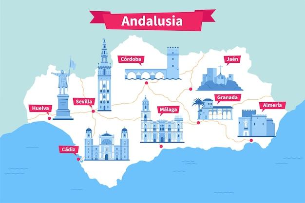 Mappa dell'andalusia con diversi punti di riferimento