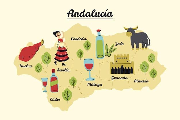 Mappa dell'andalusia con punti di riferimento