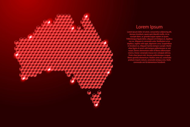 Mappa dell'australia dal concetto astratto isometrico dei cubi rossi 3d