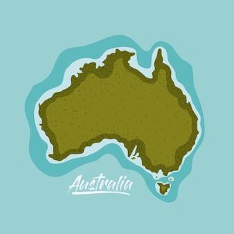 Mappa dell'australia in verde circondata dall'oceano
