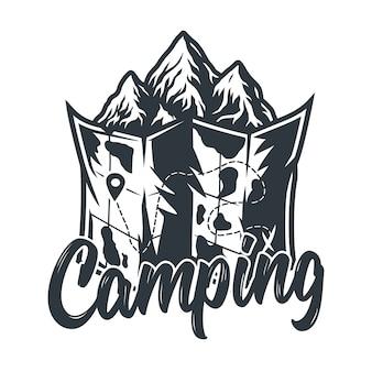 Mappa dell'emblema dell'area per il campeggio e i viaggi