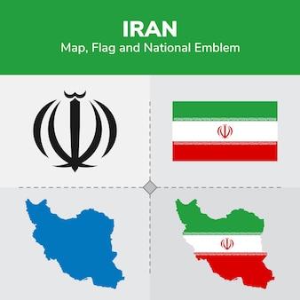 Mappa dell'iran, bandiera e emblema nazionale