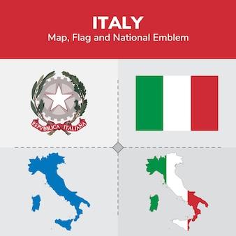 Mappa dell'italia, bandiera e emblema nazionale