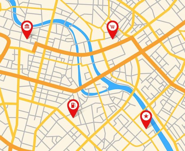 Mappa della città europea di navigazione con perni. modello di vettore di cartografia astratta