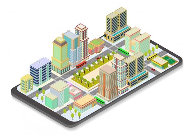 Mappa della città isometrica su smart phone