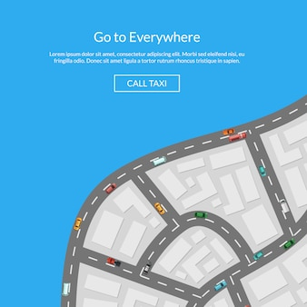 Mappa della città vettoriale con auto