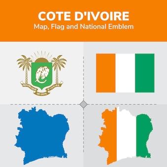 Mappa della costa d'avorio, bandiera e emblema nazionale