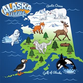 Mappa della fauna selvatica dell'alaska in stile cartoon