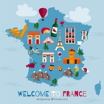 Mappa della francia con punti di riferimento
