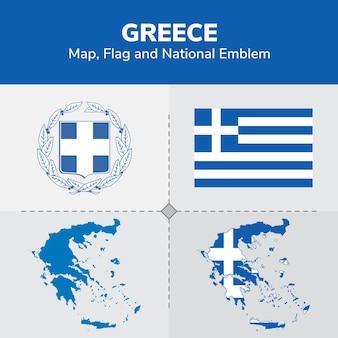 Mappa della grecia, bandiera e emblema nazionale