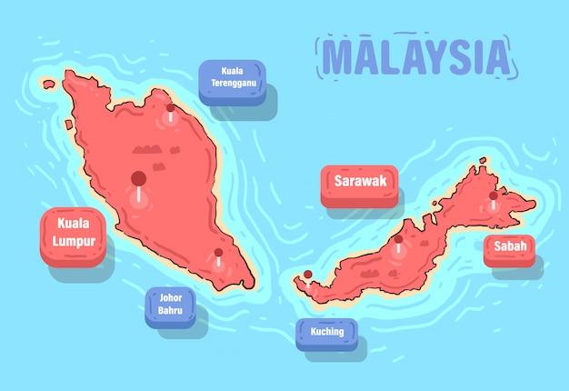 Mappa della malesia e punti di riferimento. illustrazione di vettore della mappa della malesia