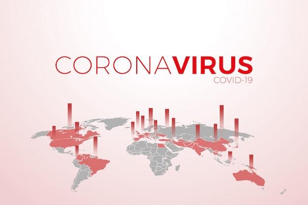 Mappa della pandemia diffusa coronavirus.virus covid -19. focolai epidemici in tutto il mondo.
