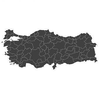 Mappa della turchia con regioni selezionate in colore nero su bianco