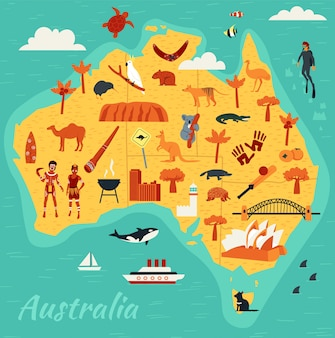 Mappa delle principali attrazioni turistiche dell'australia, illustrazione