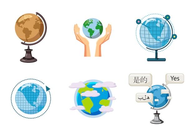 Mappa delle sfere del mondo. insieme del fumetto di globale