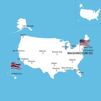 Mappa dettagliata degli stati uniti