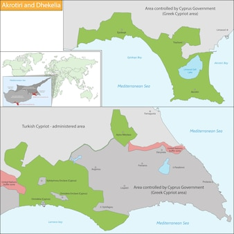 Mappa di akrotiri e dhekelia