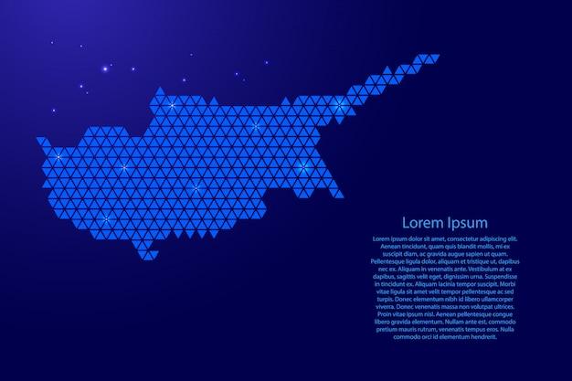 Mappa di cipro schematica astratta da triangoli blu ripetendo motivo geometrico con nodi e stelle per banner, poster, cartolina d'auguri.
