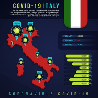 Mappa di coronavirus italia infografica