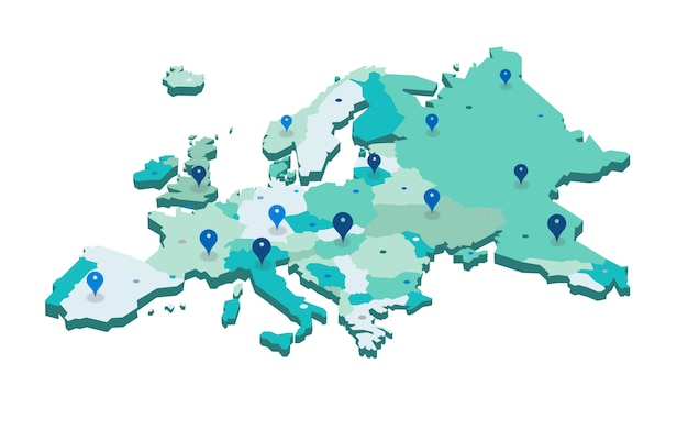 Mappa di europa vettoriale 3d
