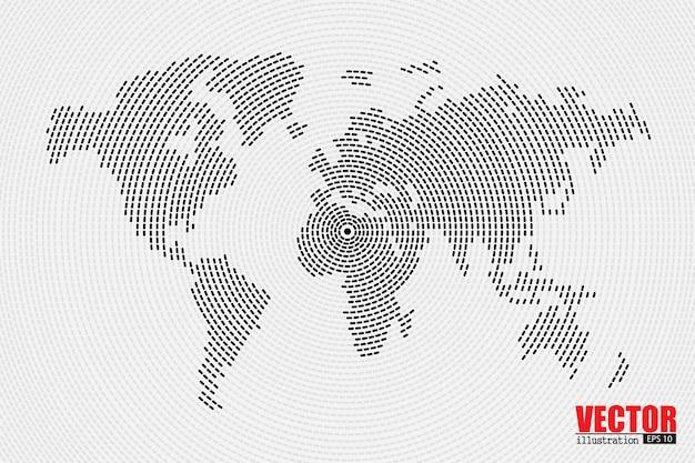 Mappa di mondo nell'illustrazione a spirale dei punti