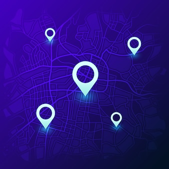 Mappa di navigazione della città. navigatore futuristico di localizzazione gps, mappe di viaggio con spille e navigatore stradale