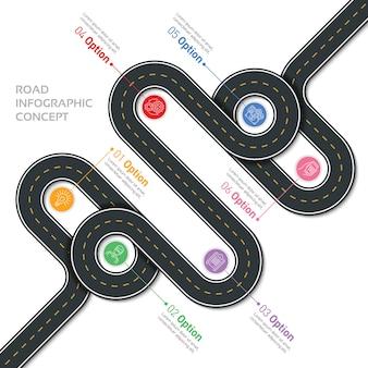 Mappa di navigazione infotemplate strada tortuosa