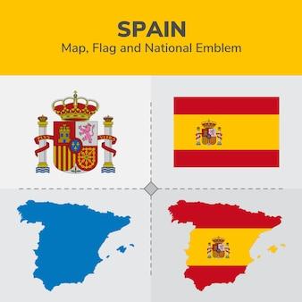 Mappa di spagna, bandiera e emblema nazionale