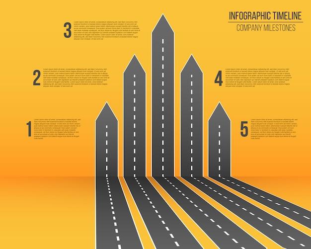 Mappa di strade di freccia infografica