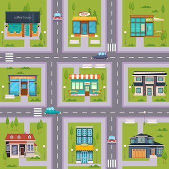 Mappa di suburb street cafe senza soluzione di continuità