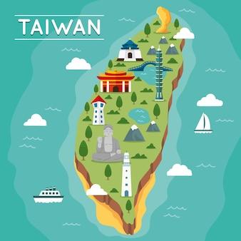 Mappa di taiwan con punti di riferimento