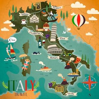 Mappa di viaggio colorata dell'italia con simboli di attrazione, segno della bussola e parole italiane per ciao sul lato sinistro