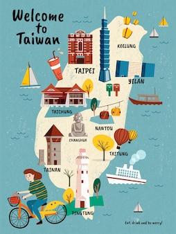 Mappa di viaggio di taiwan, attrazioni in stile disegnato a mano e specialità con ragazza in sella a una bicicletta
