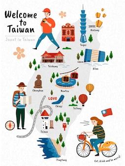Mappa di viaggio di taiwan, attrazioni in stile disegnato a mano e specialità con tre viaggiatori