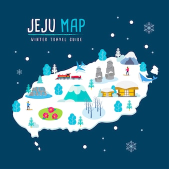 Mappa di viaggio invernale dell'isola di jeju