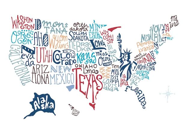 Mappa disegnata a mano degli stati uniti