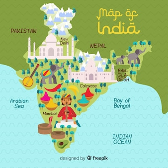 Mappa disegnata a mano dell'india
