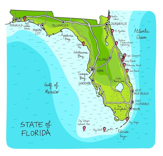 Mappa disegnata a mano della florida con le principali città.