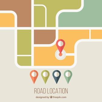 Mappa e localizzatori in design piatto