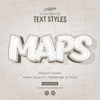 Mappa e terreno stile di testo bianco