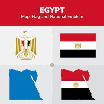 Mappa egitto, bandiera e emblema nazionale